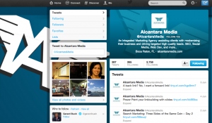 Example of a branded Twitter Profile from Alcantara Media